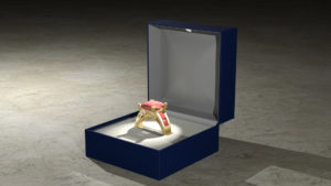 Ruby ring in a ring box